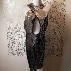EXPRESS silver sequin cutout dress SIZE 16